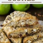 scones with apples and pecans stacked on top of each other