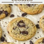 chocolate chip cookies made with brown butter on parchment paper
