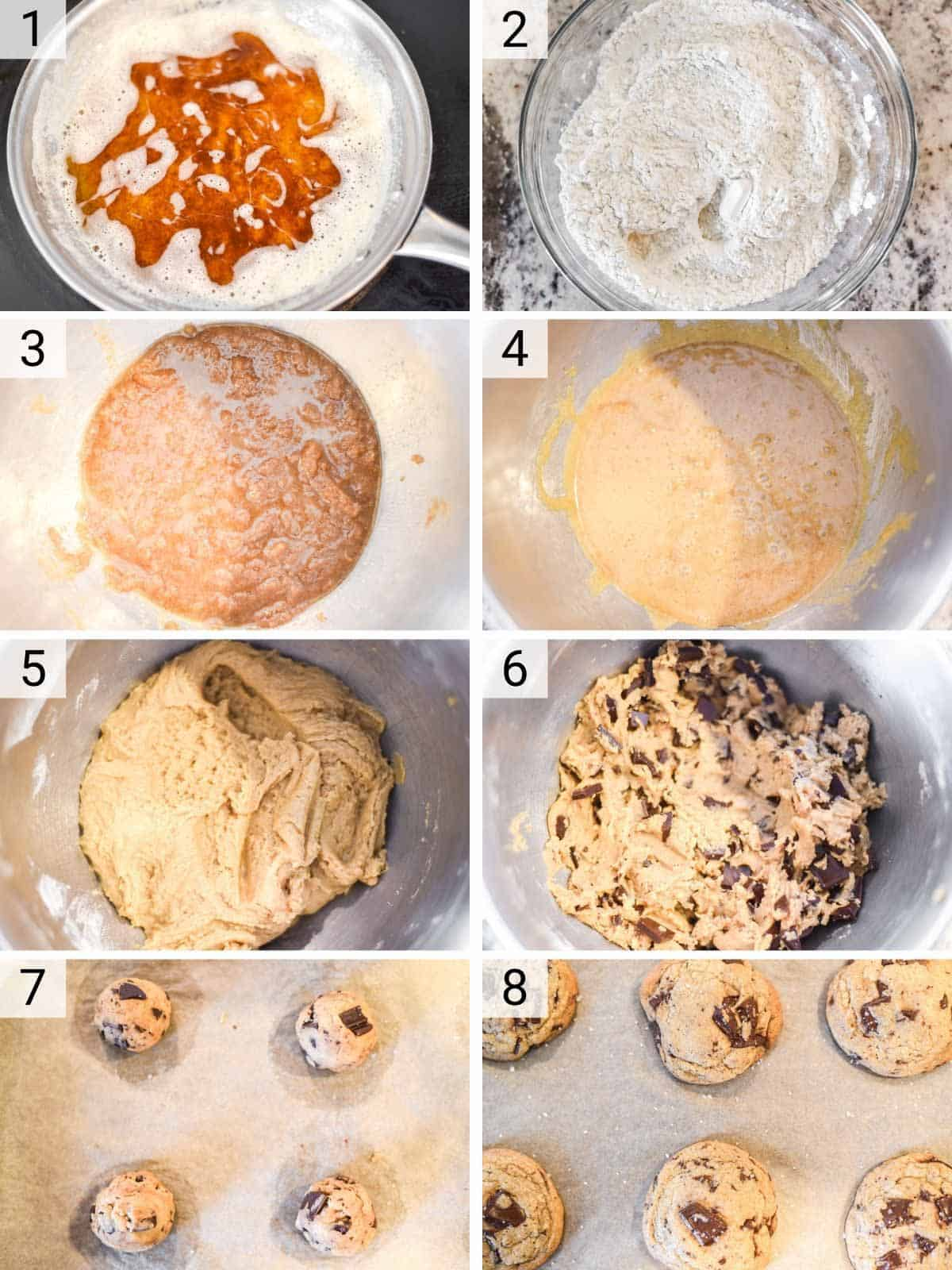 process shots of how to make chocolate chip cookies with brown butter