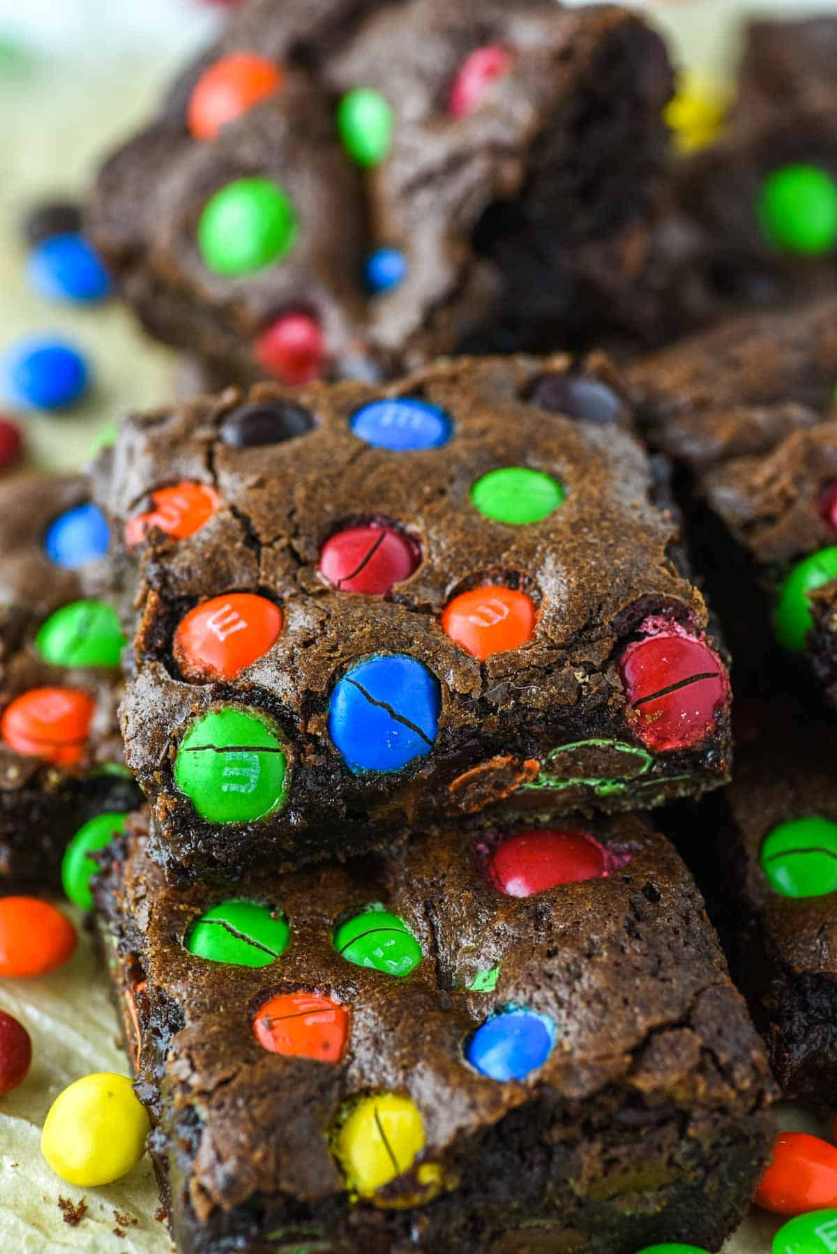 M&M brownies stacked on top of each other