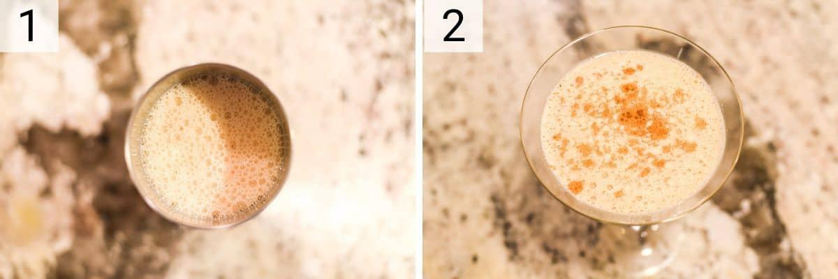 process shots of how to make pumpkin martinis