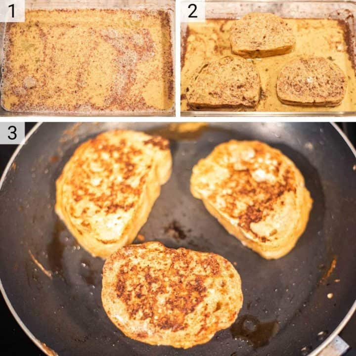 process shots of how to make French toast