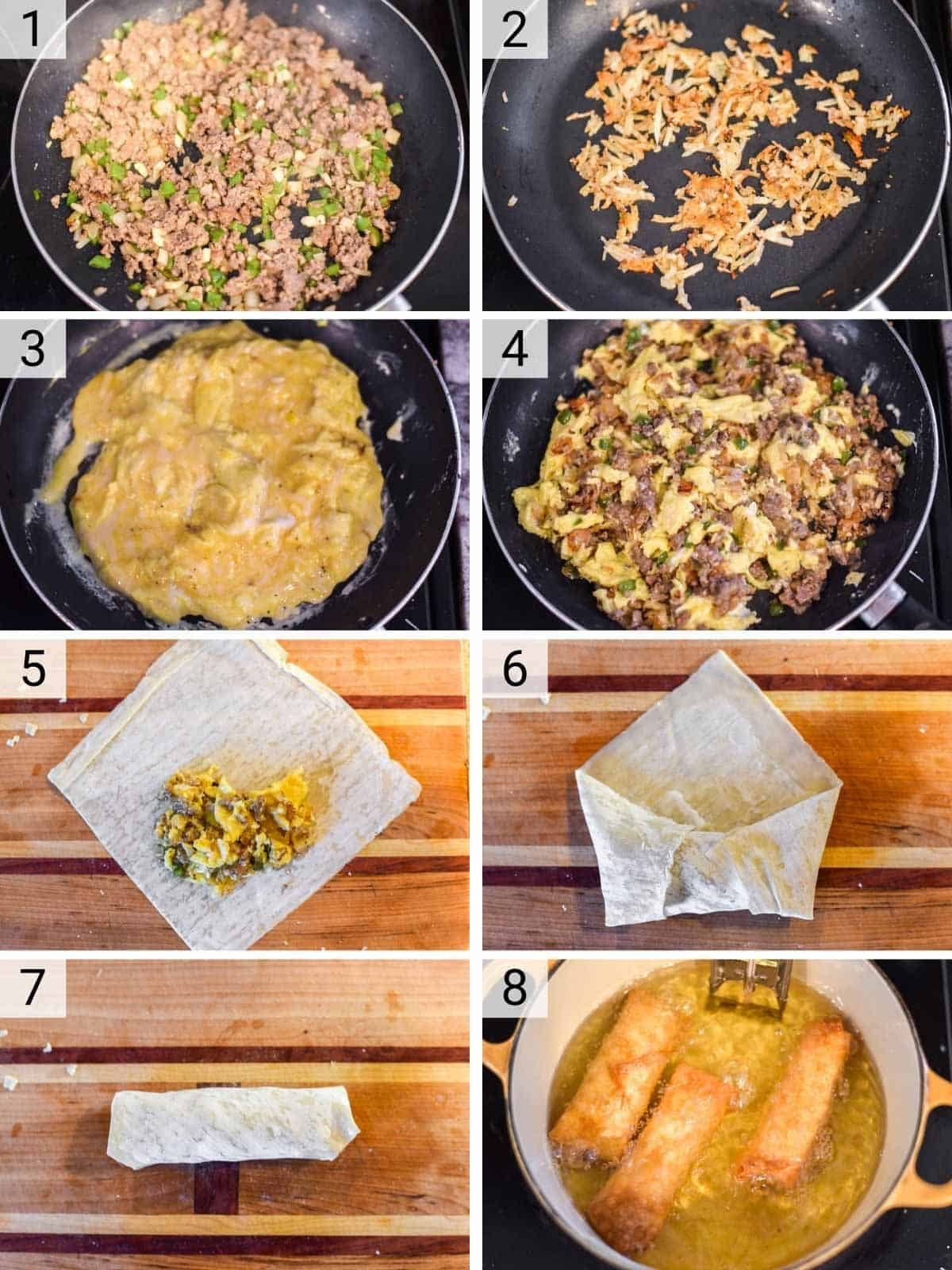 process shots of how to make breakfast egg rolls