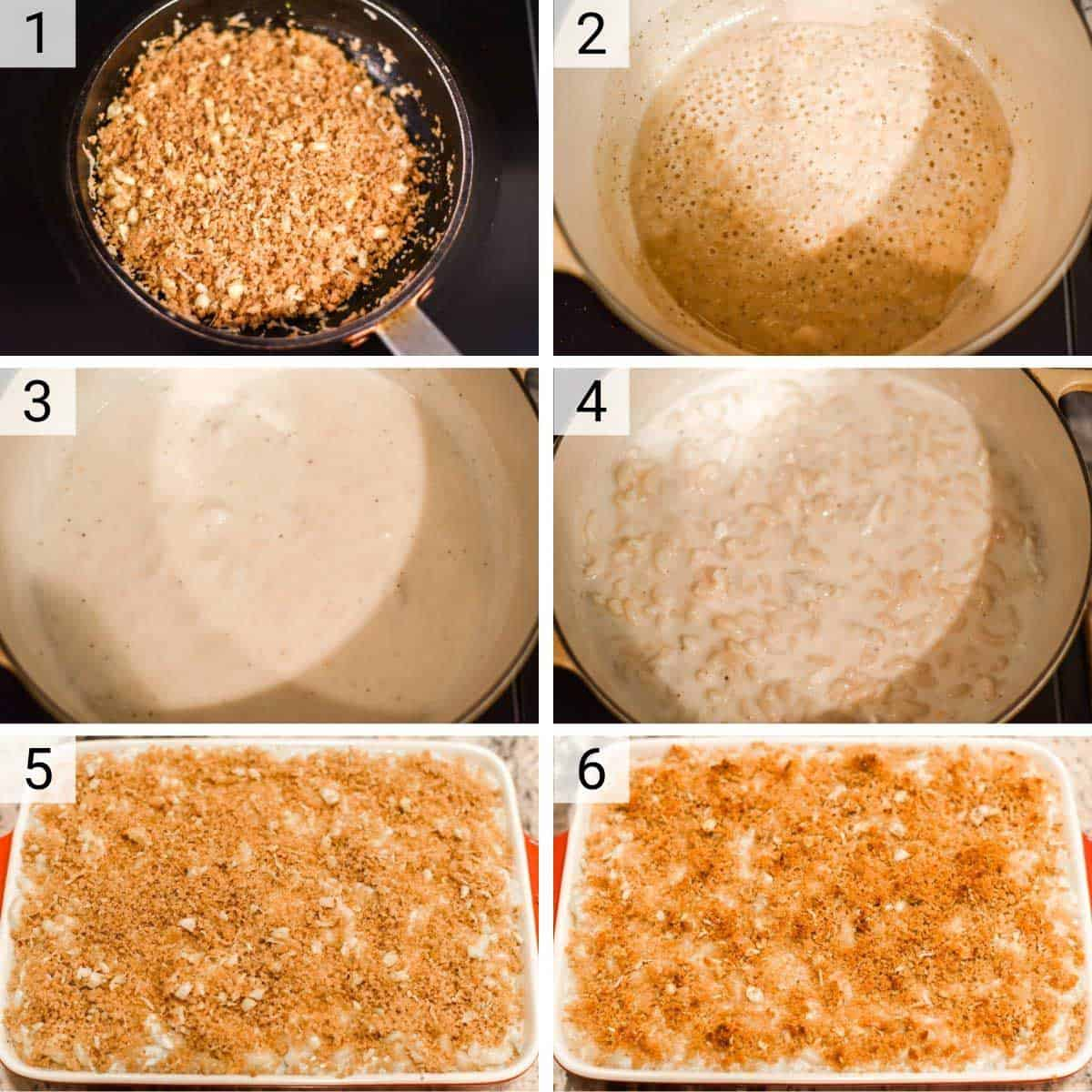 process shots of how to make crab mac and cheese