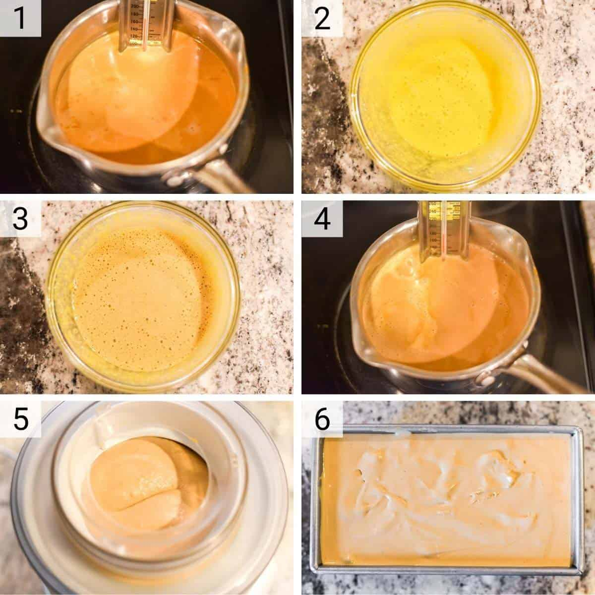 process shots of how to make dulce de leche ice cream