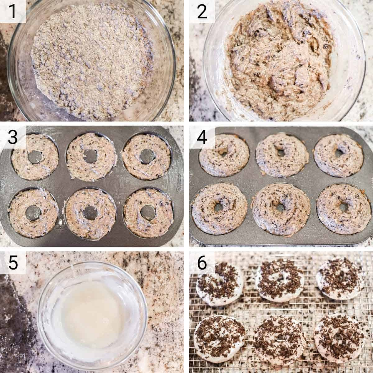 process shots of how to make an Oreo donut