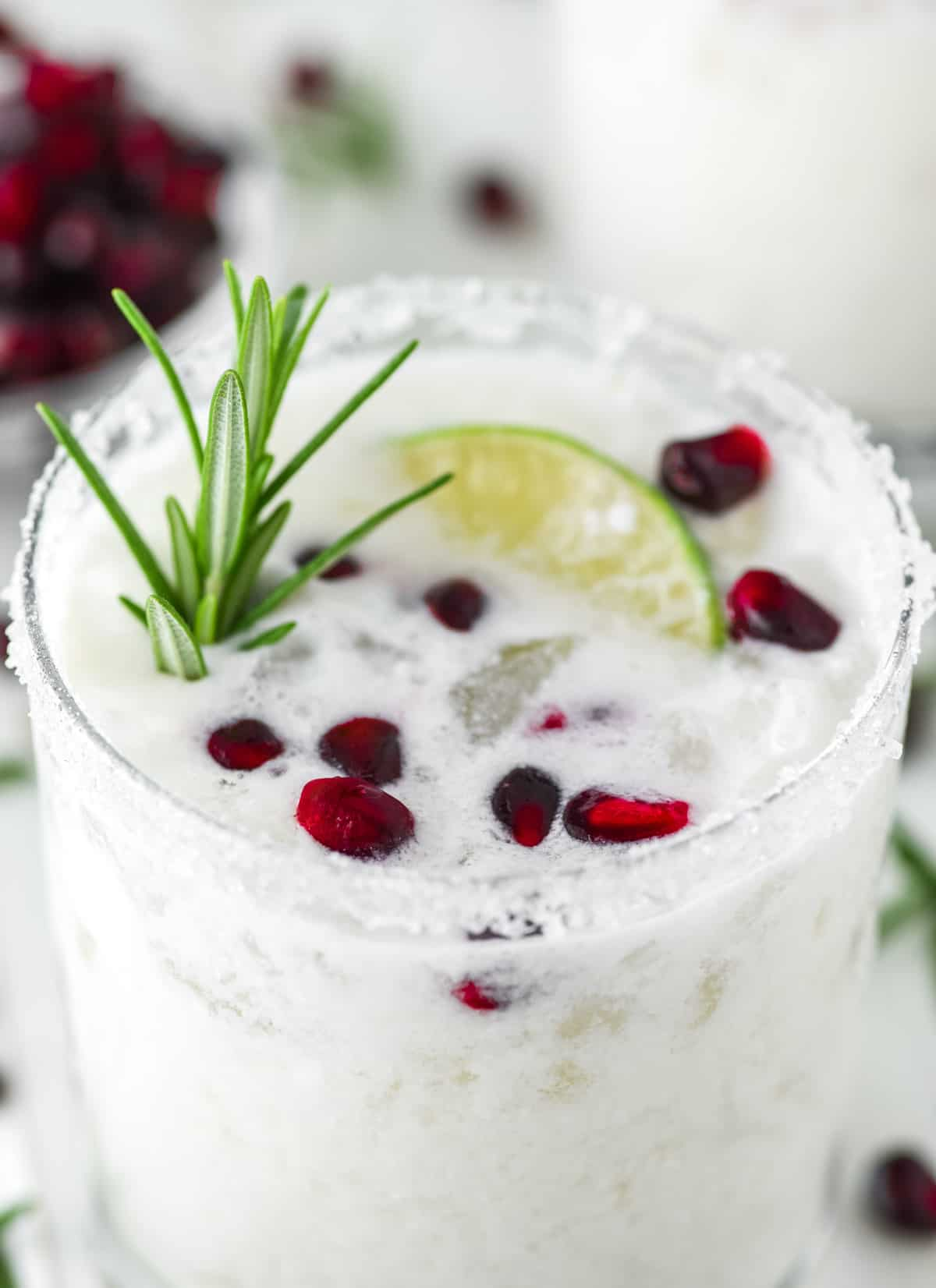 glass of White Christmas Margarita made with coconut