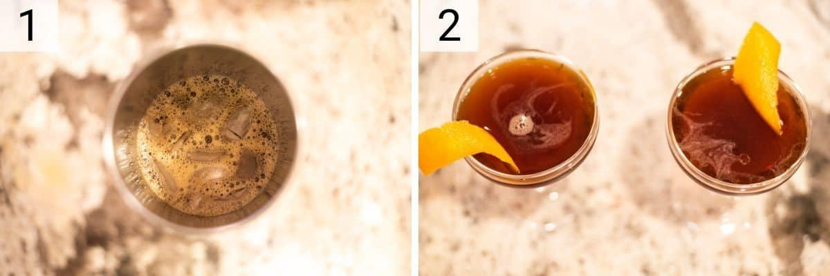 process shots of how to make a Black Manhattan