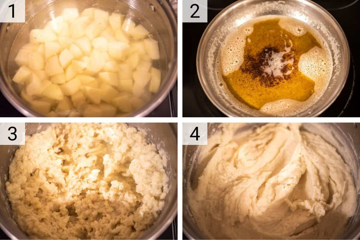 process shots of how to make brown butter mashed potatoes