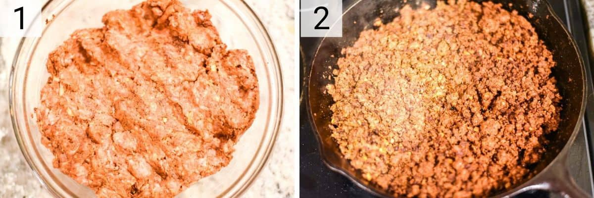 process shots of how to make homemade chorizo