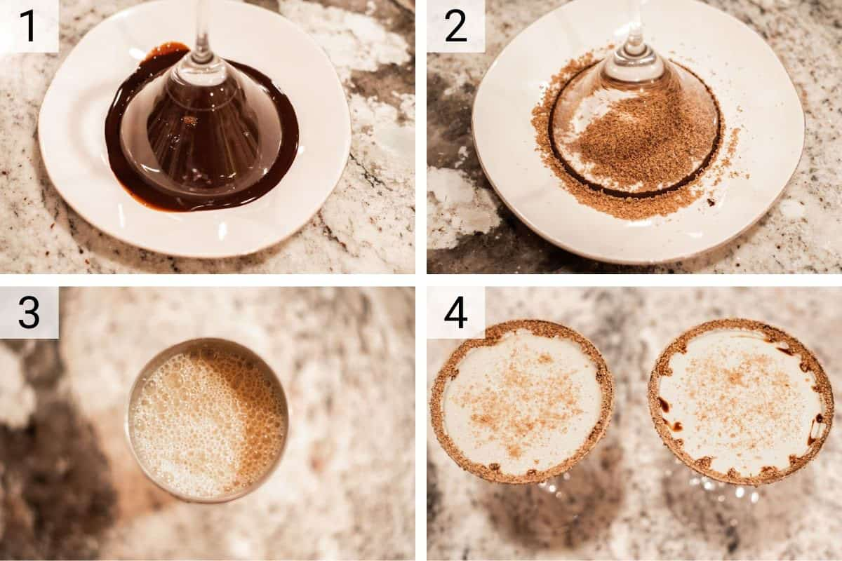 process shots of how to make Godiva chocolate martinis