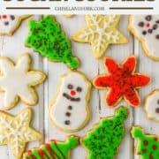 overhead shot of sugar cookies on white board