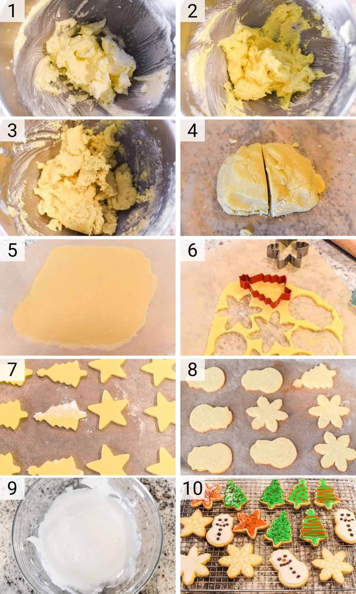 process shots of how to make homemade sugar cookies