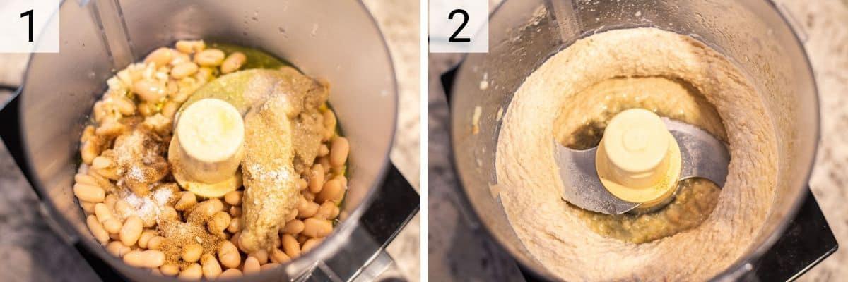 process shots of how to make white bean hummus