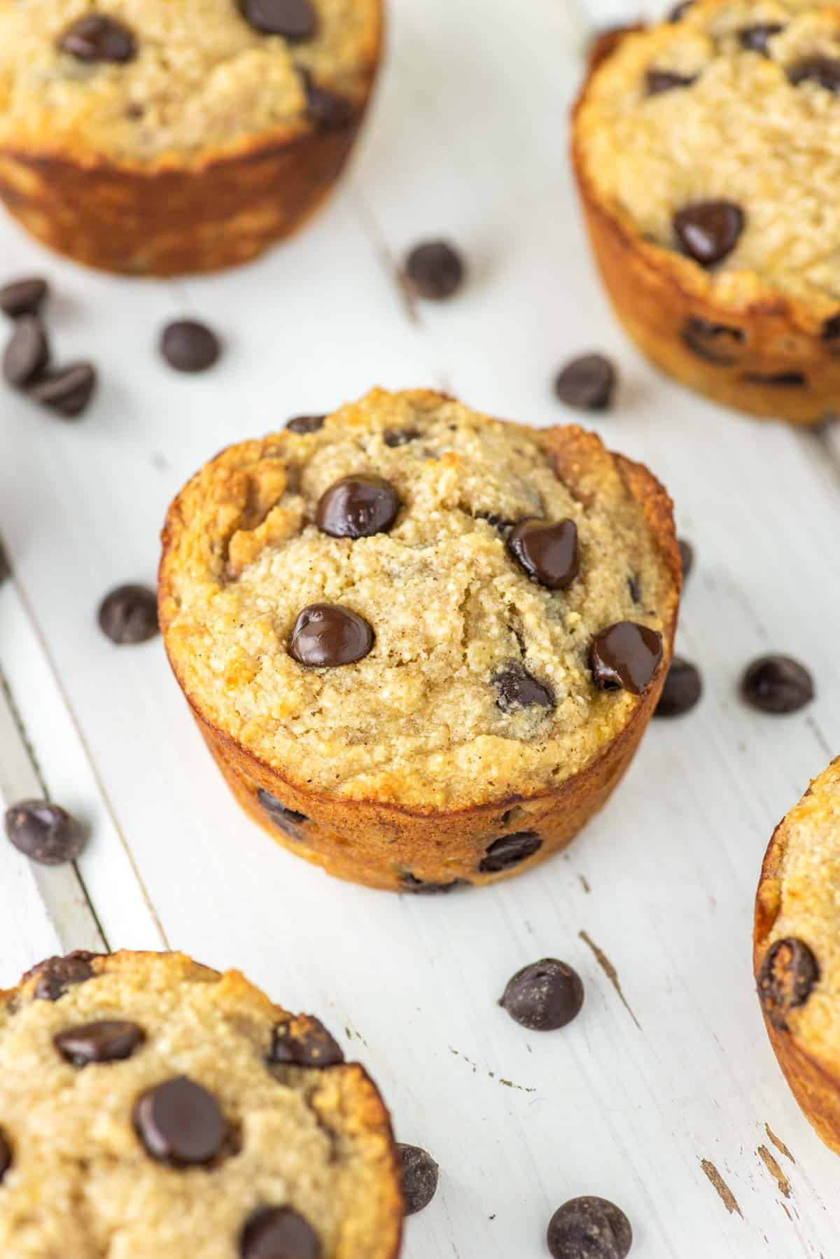 almond flour chocolate chip muffins on white board