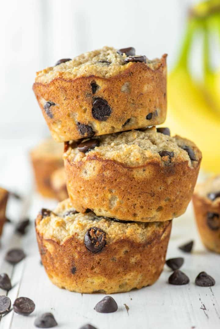 3 stacked banana muffins on top of each other made with almond flour