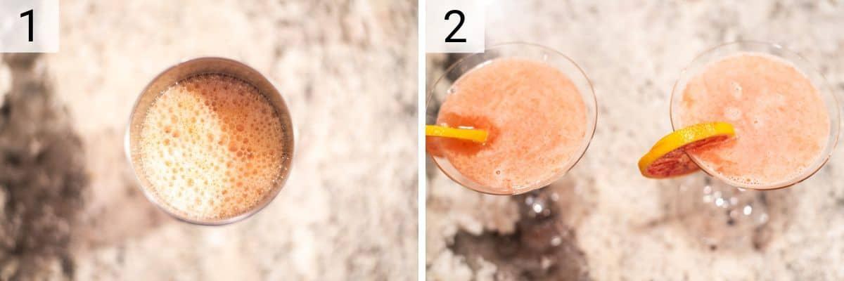 process shots of how to make blood orange martinis