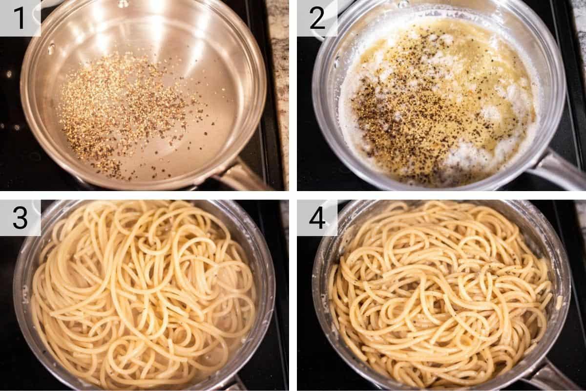 process shots of how to make bucatini cacio e pepe