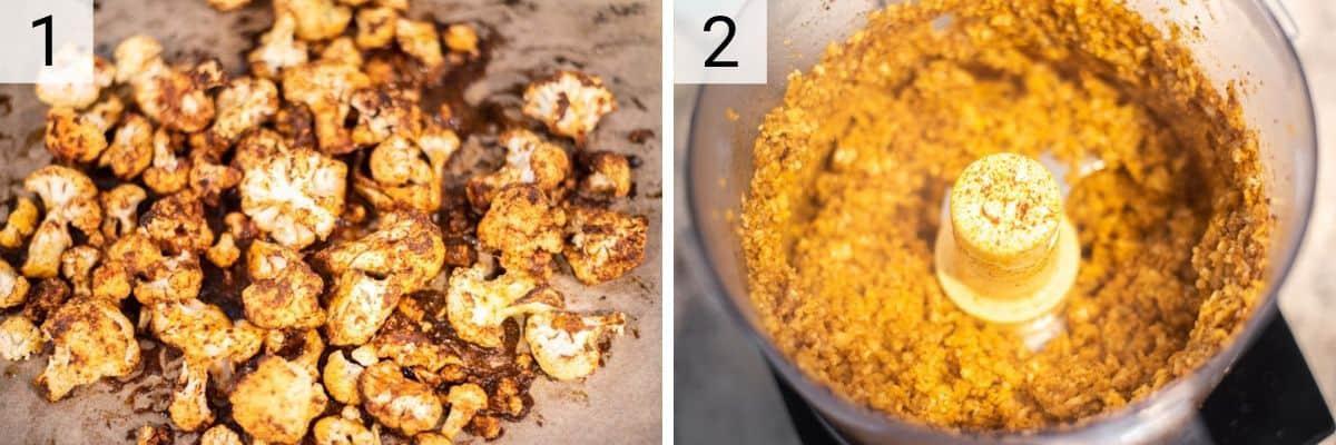 process shots of roasting cauliflower and pureeing