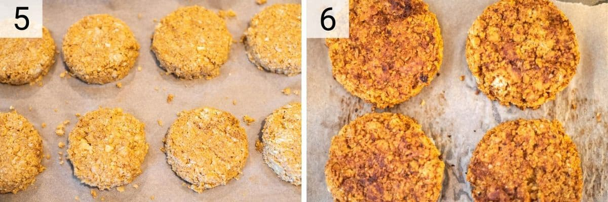 process shots of forming mixture into burgers and baking