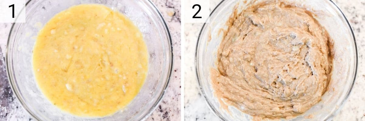 process shots of stirring together the bananas, butter, eggs and vanilla extract before adding the dry ingredients