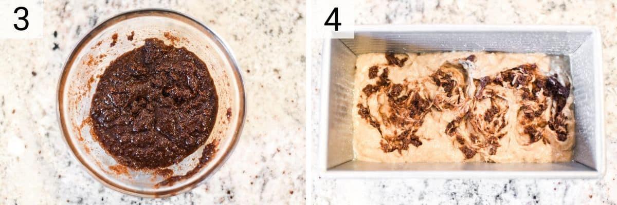 process shots of making cinnamon swirl and adding to batter