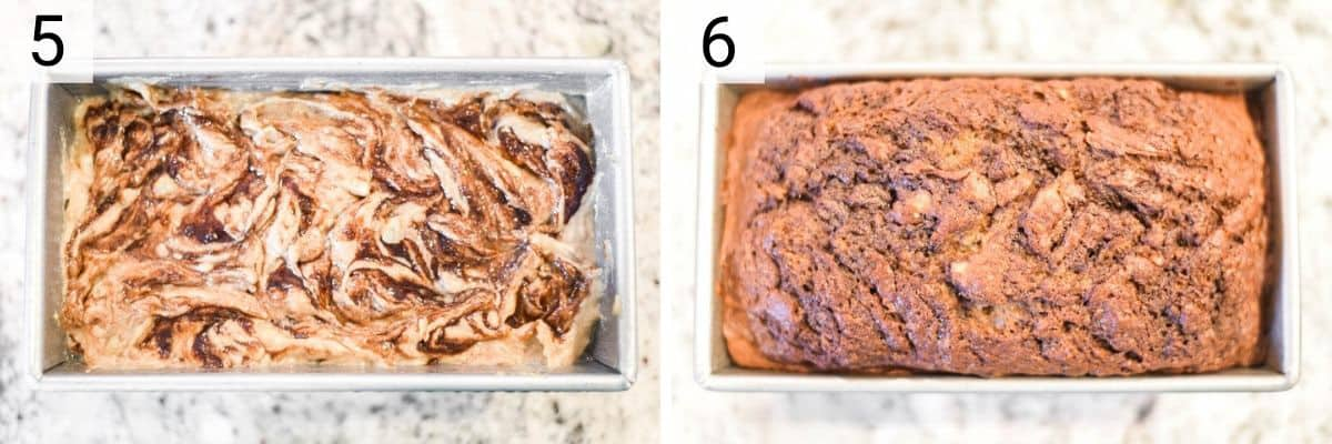process shots of mixing cinnamon swirl of batter and baking in loaf pan