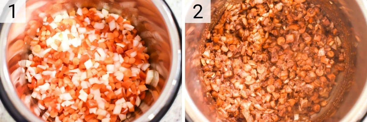 process shots of adding veggies to Instant Pot and cooking