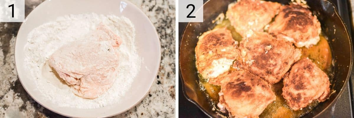 process shots of dredging chicken in flour and cooking in skillet