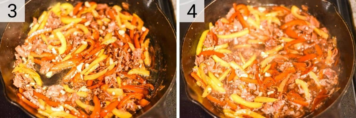 process shots of cooking peppers and prosciutto before deglazing with wine