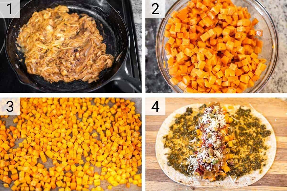 process shots of how to make sweet potato wraps