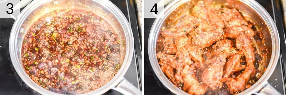 process shots of making teriyaki sauce and tossing wings in it