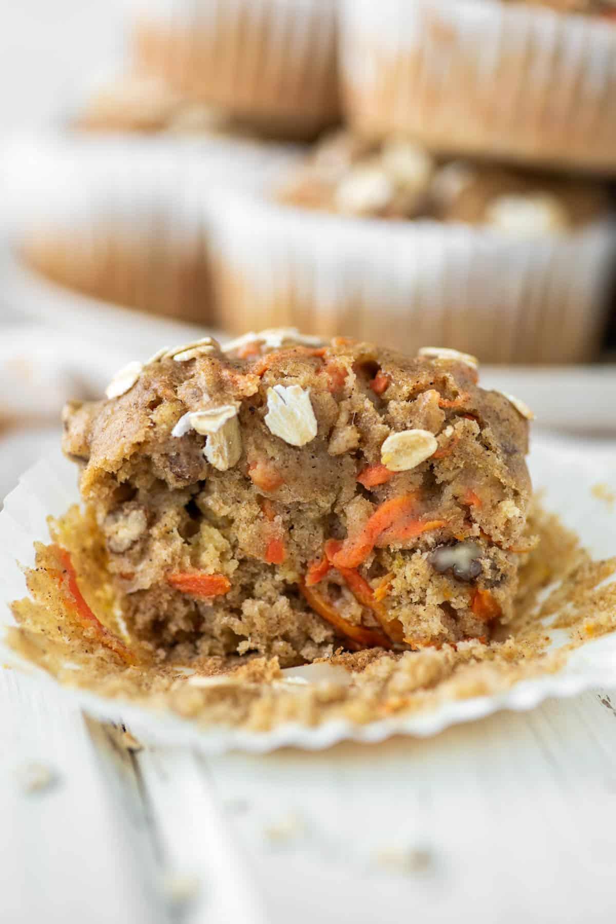 banana carrot muffin cut in half on muffin wrap