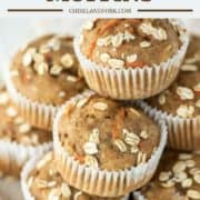 stacked banana carrot muffins with oats on plate