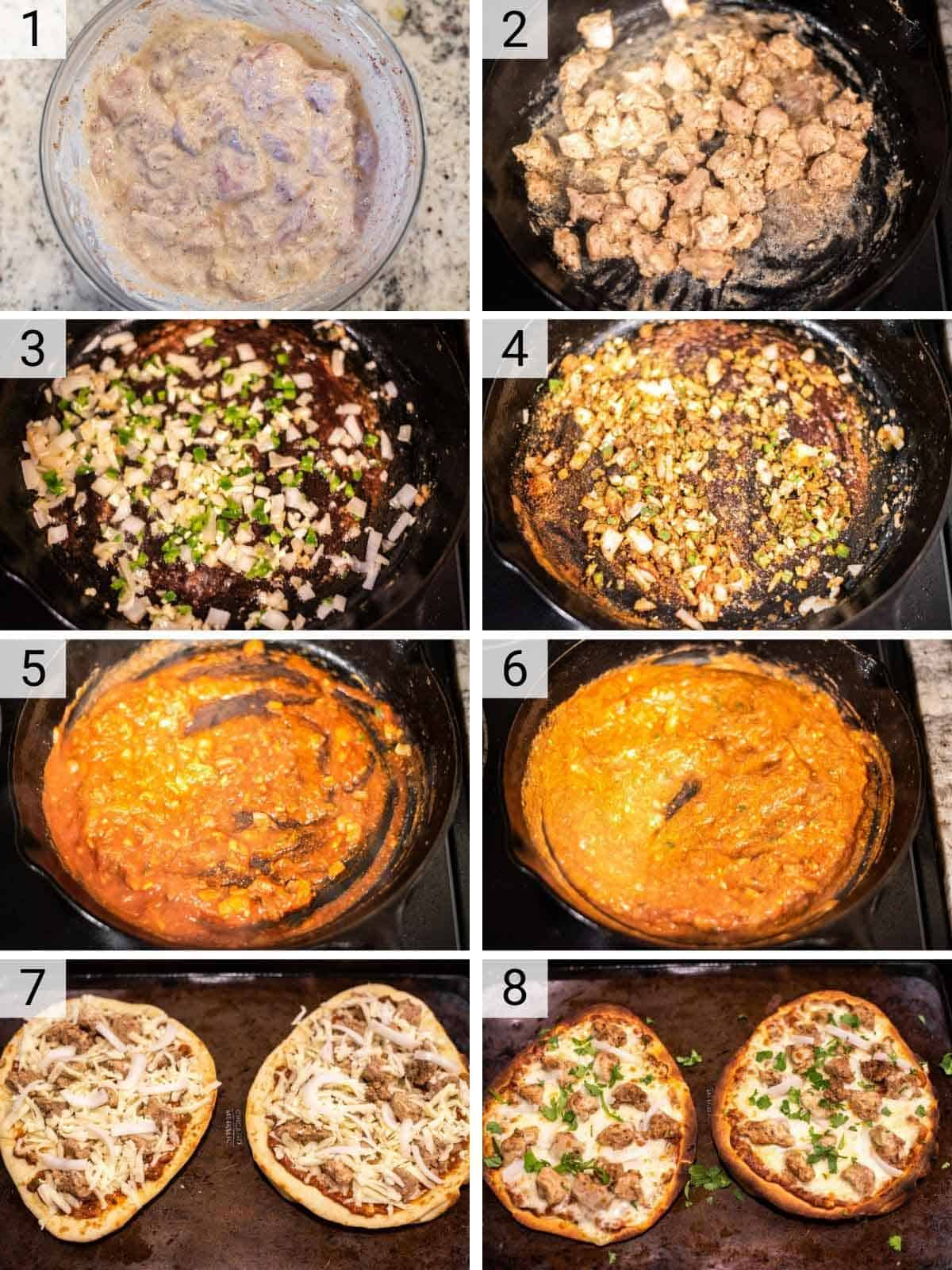 process shots of how to make chicken tikka pizza