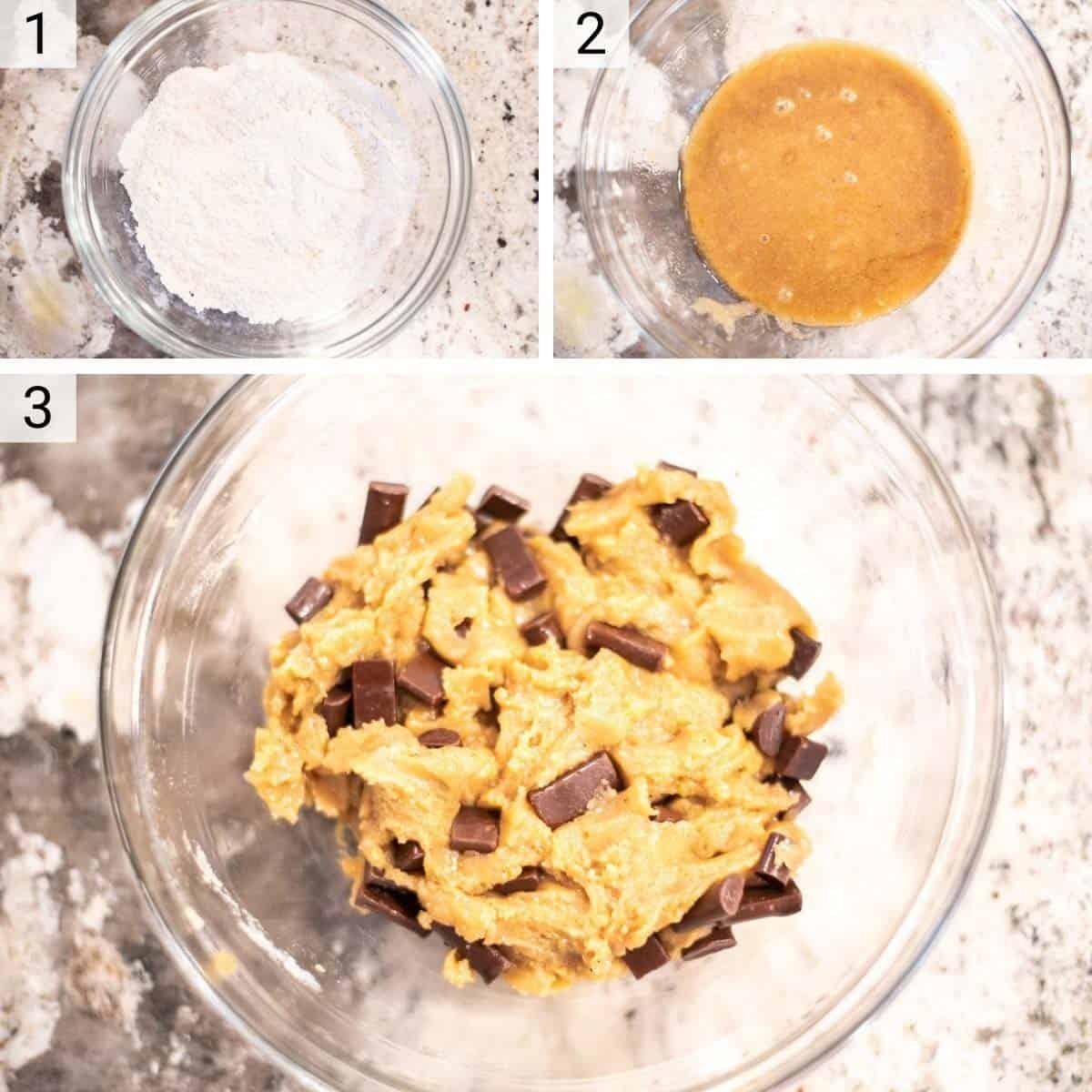 process shots of making cookie dough