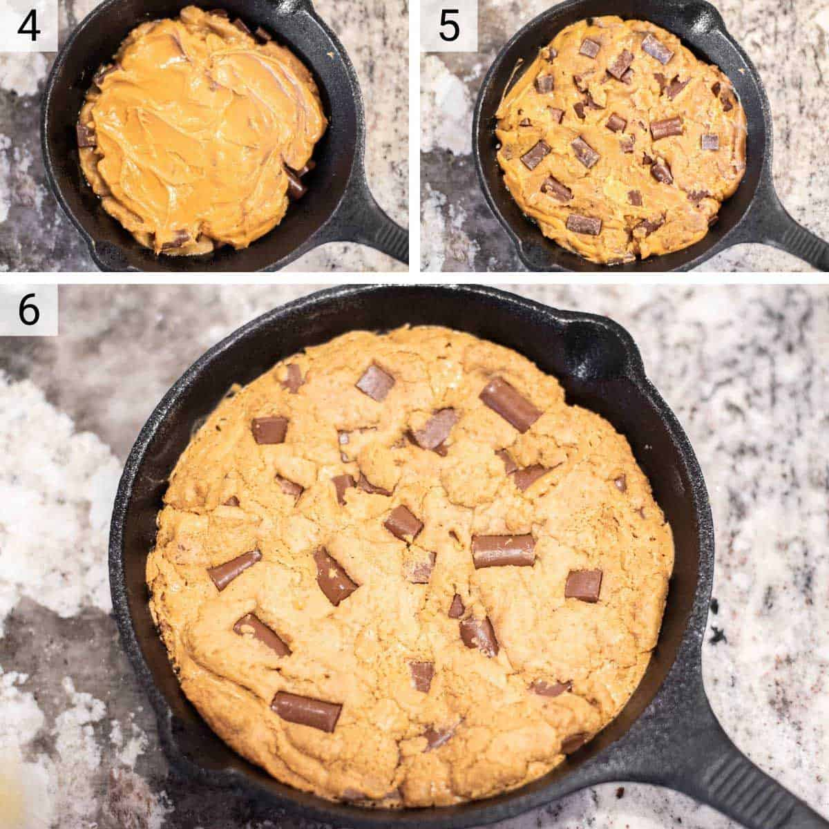 process shots of adding cookie dough to skillet and baking
