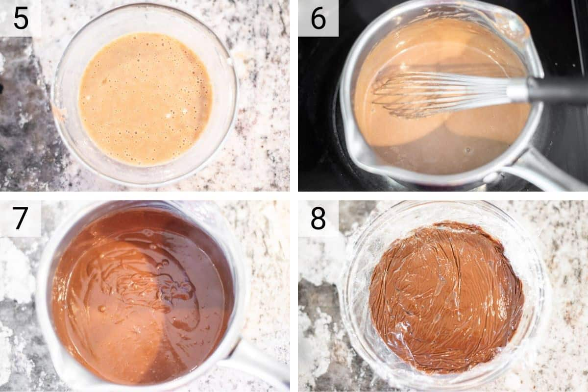 process shots of making chocolate pastry cream