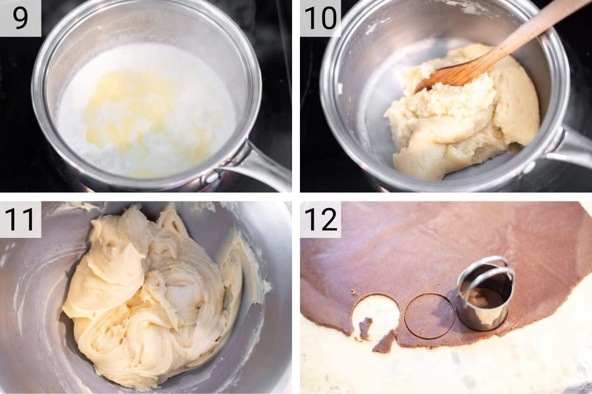 process shots of making cream puff dough and cutting out craquelin