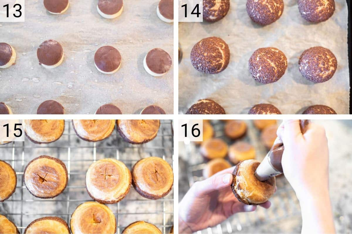 process shots of baking cream puffs and adding pastry cream