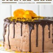 chocolate cake with orange on white stand
