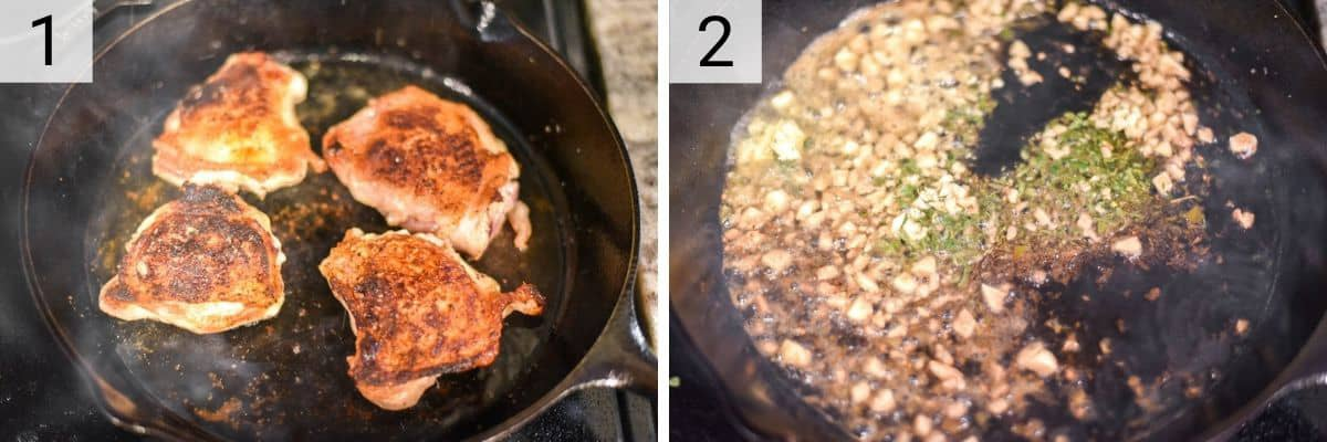 process shots of cooking chicken and then adding garlic and herbs to pan