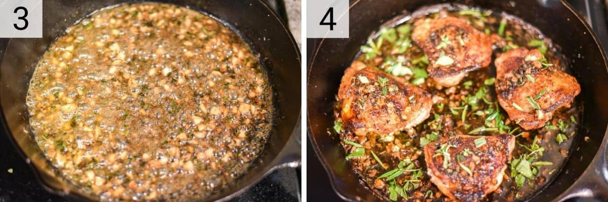 process shots of deglazing skillet with wine and adding chicken back in