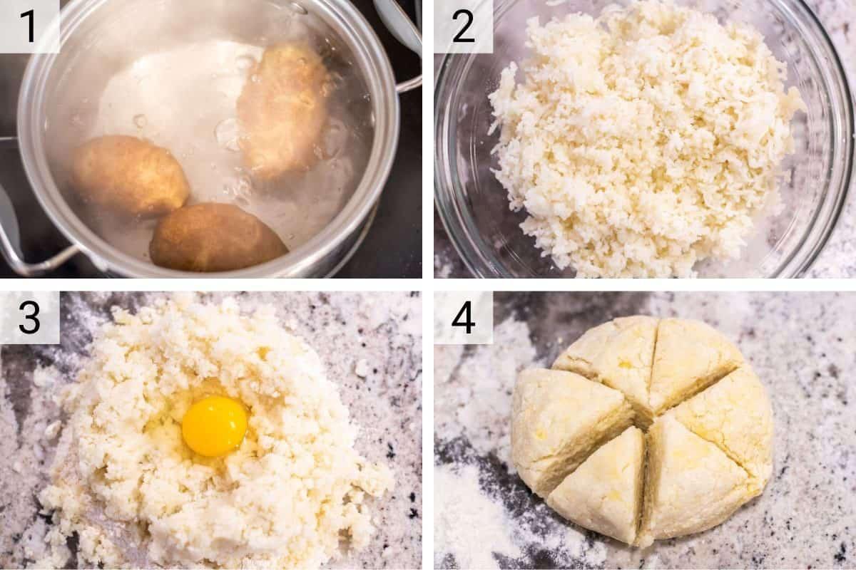 process shots of making gnocchi dough