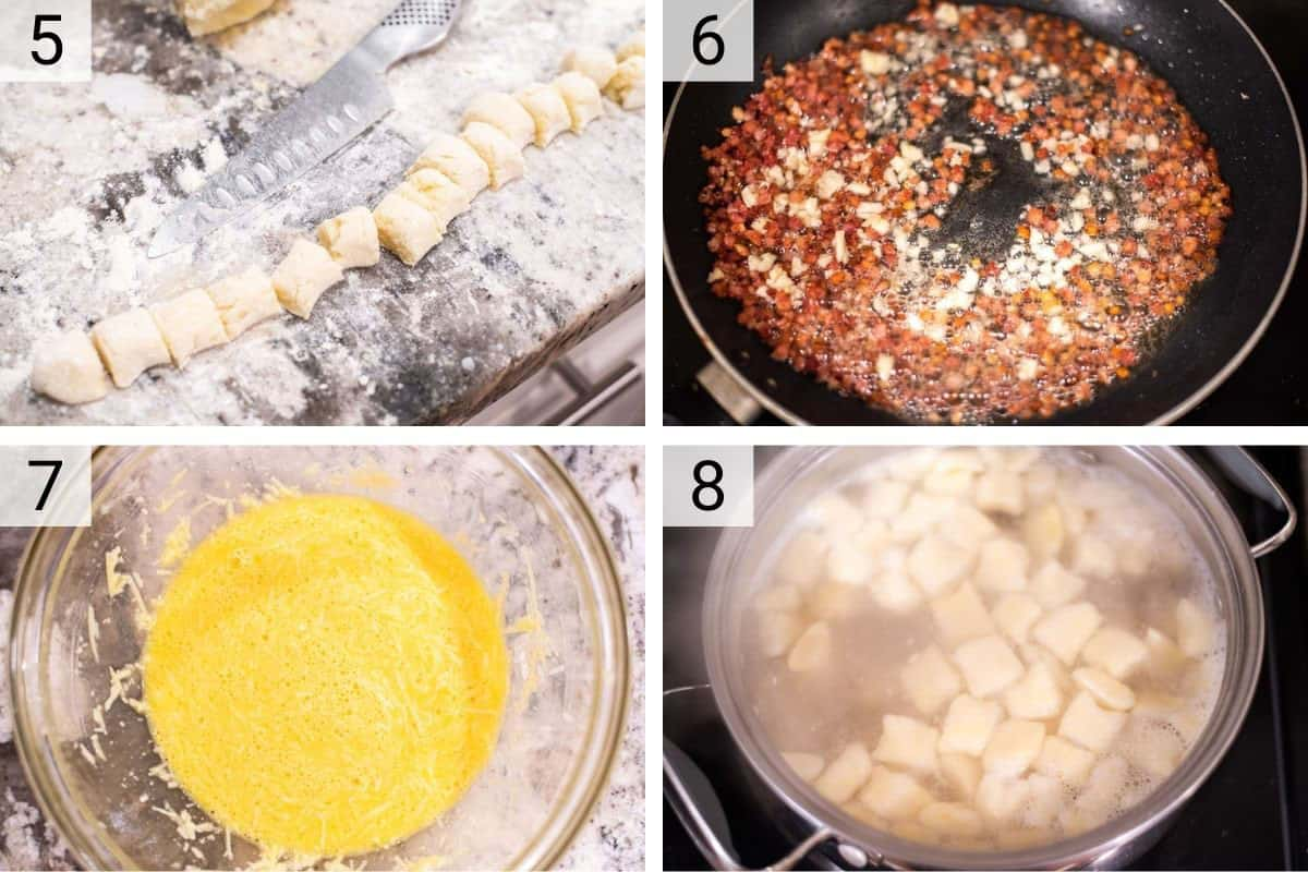 process shots of rolling out gnocchi dough, cooking pancetta, whisking eggs and boiling gnocchi