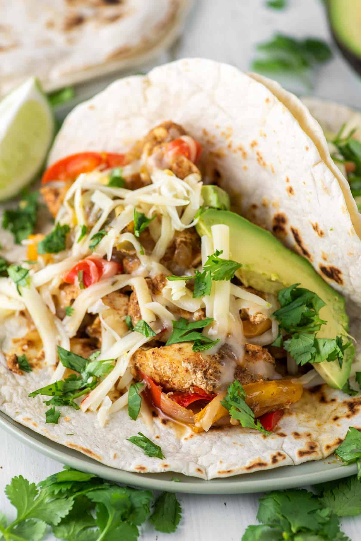 close-up of chicken fajita on plate made with Instant Pot