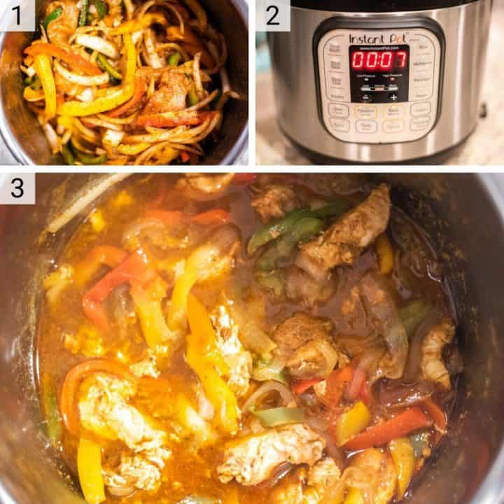 process shots of how to make chicken fajitas in Instant Pot