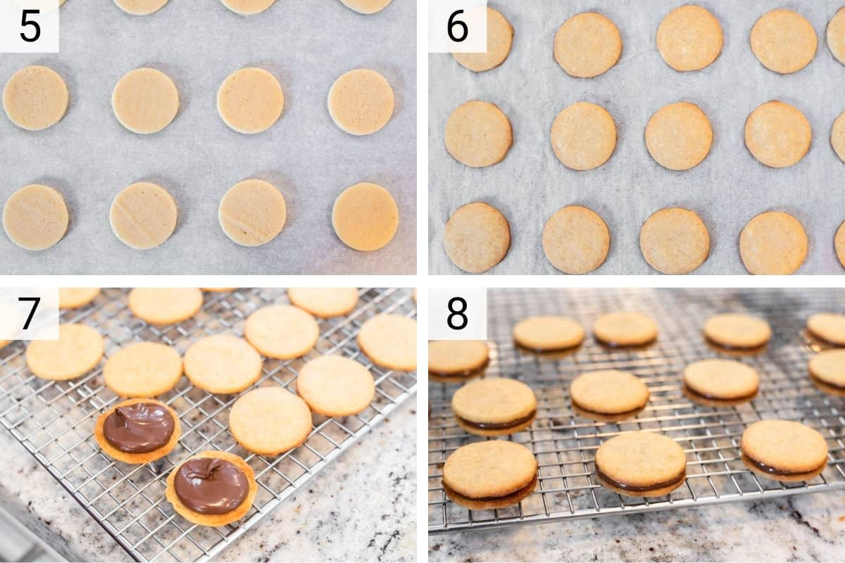 process shots of cooking biscuits and stuffing with nutella