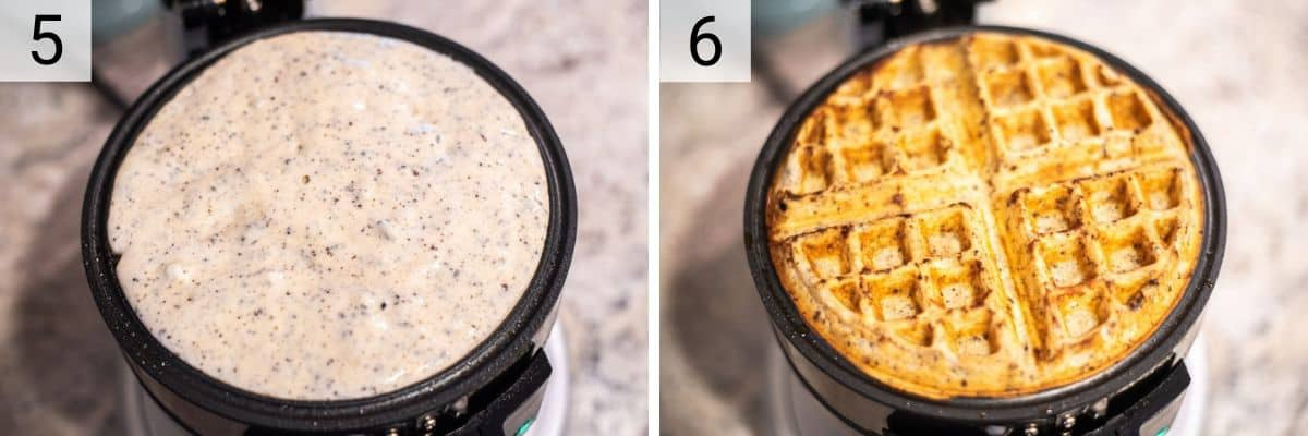 process shots of cooking waffles in waffle maker