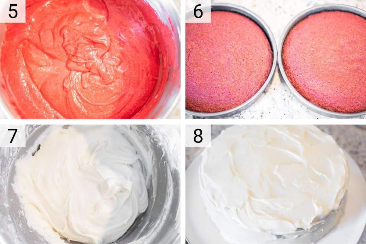 process shots of baking the red velvet cake and frosting it